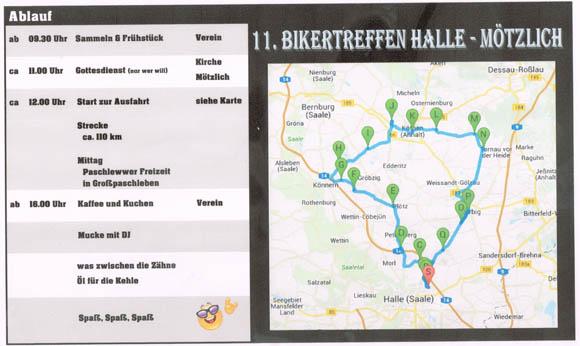 Tourenplan Bikertreffen April 2016 in Mötzlich